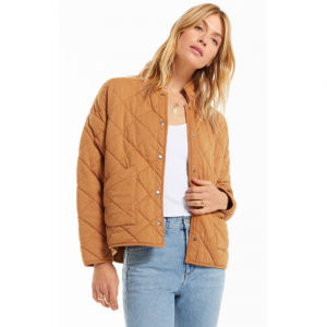 Z SUPPLY CAMEL BROWN MAYA QUILTED JACKET