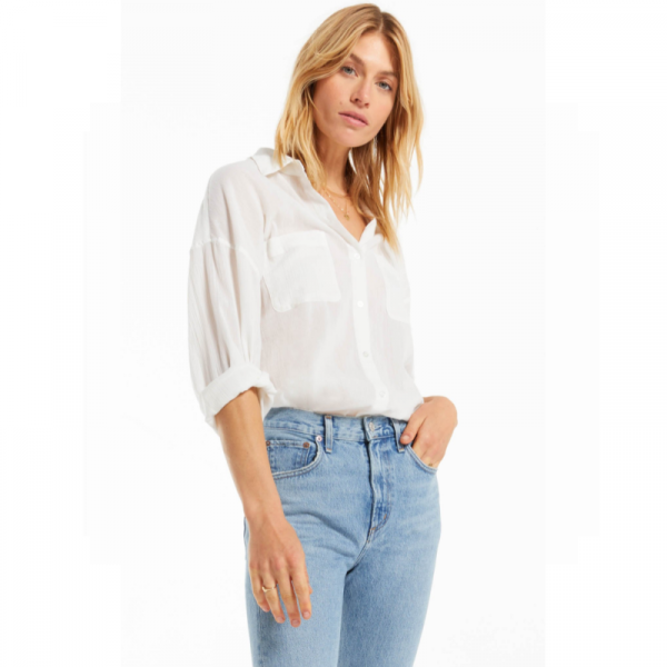 Z SUPPLY WHITE LALO BUTTON UP TOP