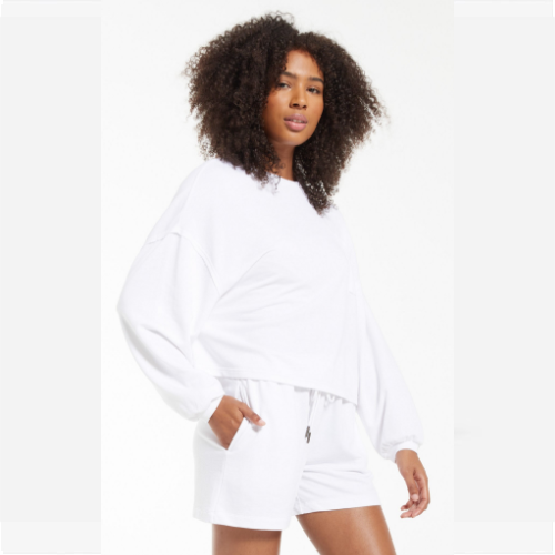 Z SUPPLY WHITE MIKI TERRY LONG SLEEVE TOP